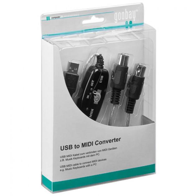 Cavo adattatore da USB a MIDI 2 mt